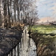 127 - Paysage de Flandre en hiver. 32,5 x 23,5 cm